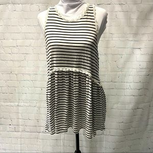 Impressions tank top tunic black and white stripes